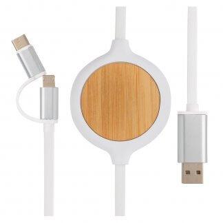 Câble 3 En 1 Avec Chargeur Sans Fil En Bambou Publicitaire CABOU