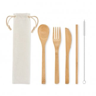 Set 3 Couverts De Table Et Paille En Bambou SETSTRAW