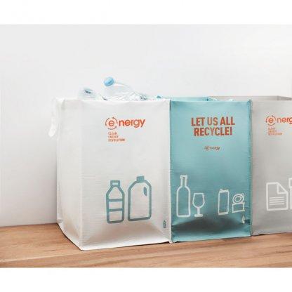 Set De 3 Sacs à Déchets En Bouteilles Plastiques Recyclées THREE BIN Avec Marquage