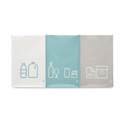 Set De 3 Sacs à Déchets En Bouteilles Plastiques Recyclées THREE BIN Face