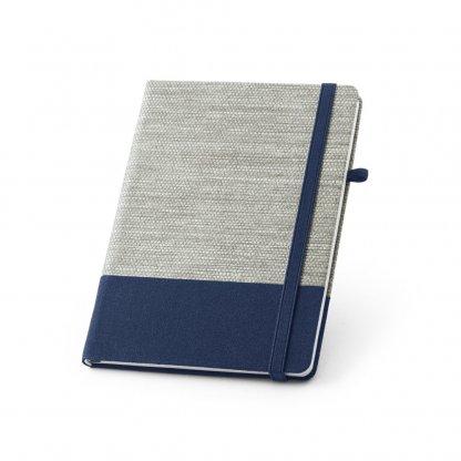 Carnet A5 En Paille Et Coton Canvas ROUSSEAU Bleu