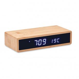 Chargeur Sans Fil Avec Horloge Et Réveil LED En Bambou MURU