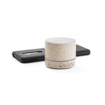 Enceinte Bluetooth En Paille De Blé LINEU Avec Smartphone