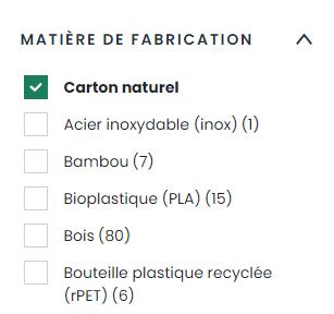 Critère de sélection d'un objet pub durable