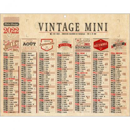 Calendrier Bancaire Rigide VINTAGE Mini Verso