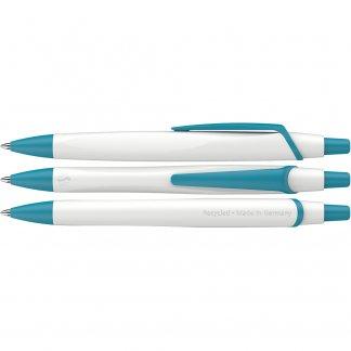 Stylo Bille Publicitaire En PET Recyclé RECO Blanc Turquoise