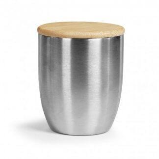 Mug Isotherme Promotionnel En Acier Inoxydable Avec Couvercle En Bambou 280ml ISOCUP