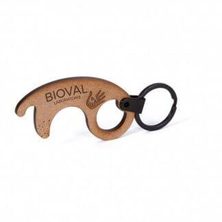 Porte Clés Sans Contact Promotionnel En Bois Aggloméré STOP COVID Gravure Laser