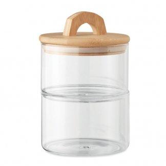 Bocal promotionnel en verre avec couvercle en bambou- 1L- BOROPOT
