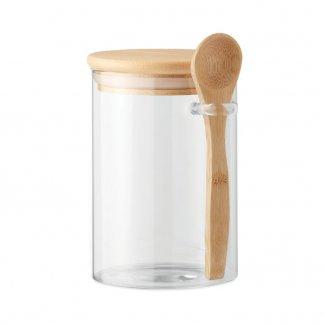 Bocal en verre publicitaire avec cuillère en bambou - 600ml - BOROSPOON