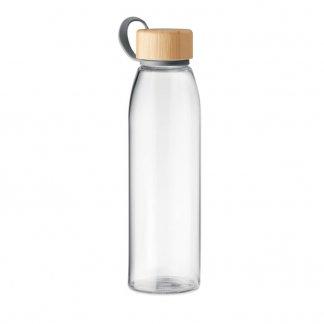 Bouteille publicitaire en verre et bambou - 500ml - FJORD WHITE