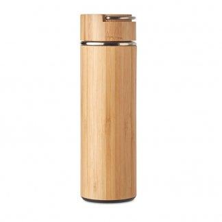 Bouteille promotionnelle isotherme en bambou et acier inoxydable - 480ml - TAMPERE