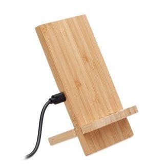 Chargeur Sans Fil Et Support De Téléphone publicitaire En Bambou WHIPPY PLUS