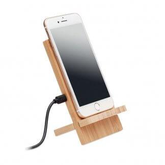 Chargeur promotionnel sans fil et support de téléphone en bambou - WHIPPY PLUS