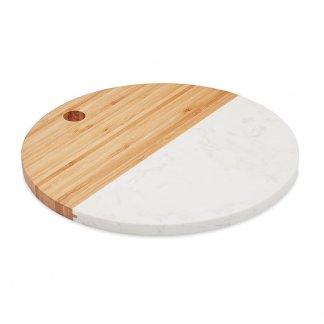 Planche à service ronde promotionnelle en marbre et bambou - HANNSU