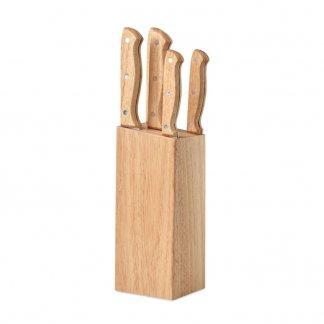Set de couteaux publicitaires boix et inox - 5 pièces - GOURMET