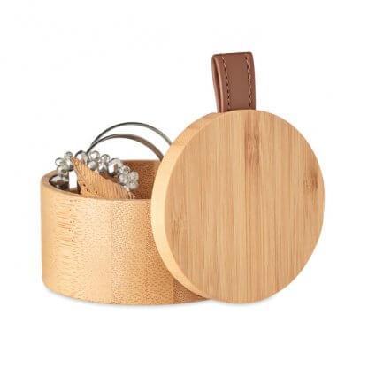 Boîte à Bijoux En Bambou TREASURE Ouverte